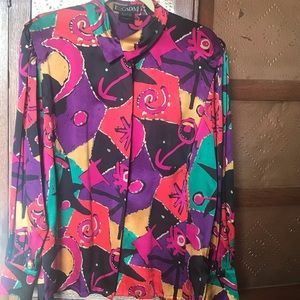 Vintage ESCADA silk blouse Abstract modern design.